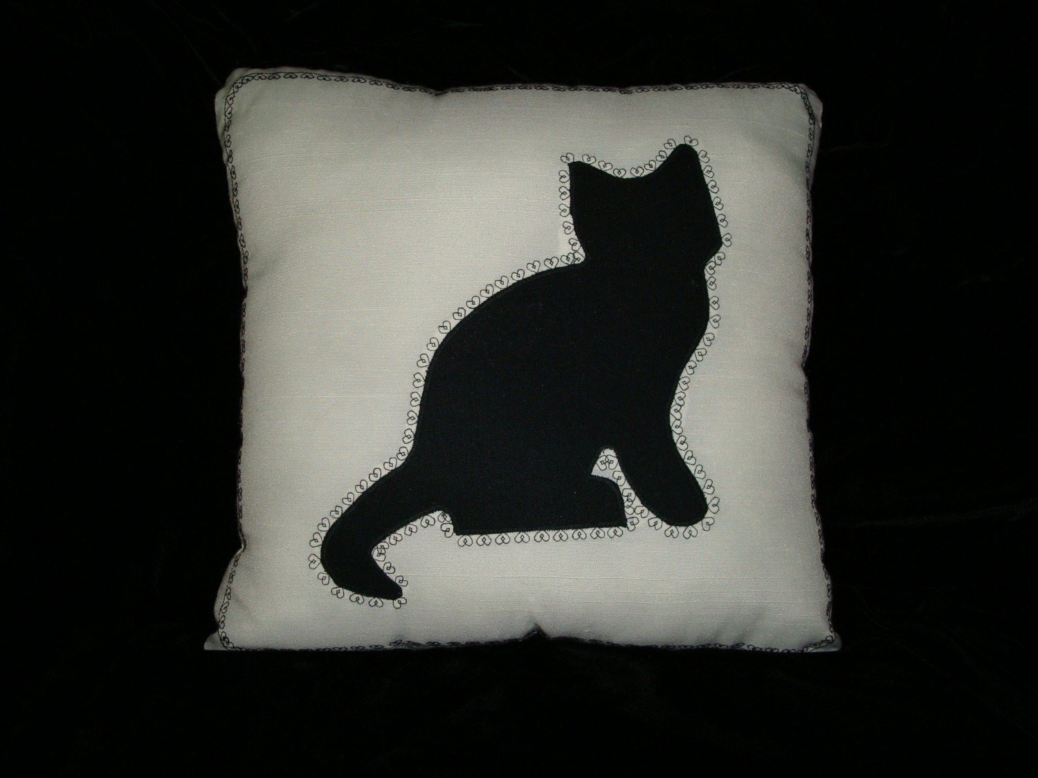 Kitty Silhouette Pillow-one of a kind