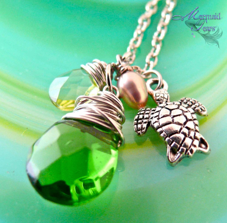 Sea Turtle Necklace Hawaiian Honu Jewelry by Mermaid Tears Hawaii