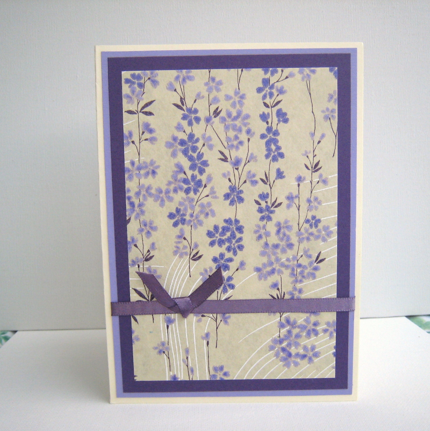 Mothers Day Card or Birthday Card Purple Floral Washi Paper Blank Inside- You Choose Sentiment on Front - BGardenCreations