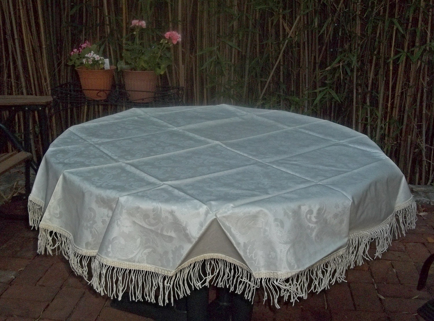 Vintage Round 60 Inch Plastic Tablecloth Unused by ...