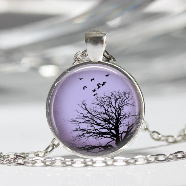 Tree Pendant - Resin Pendant Picture Pendant Tree Jewelry Tree Necklace Resin Jewelry - Lilac Sunset C166 - artyscapes