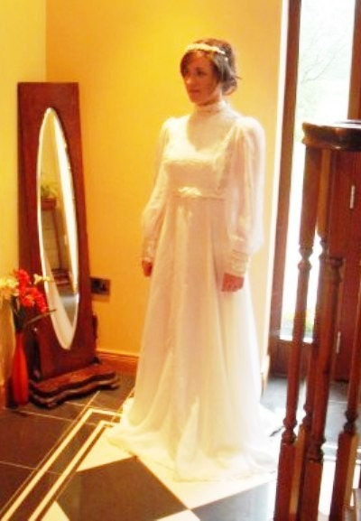 On sale vintage 1970s white milkmaid wedding dress maxi for 1970s wedding dresses for sale