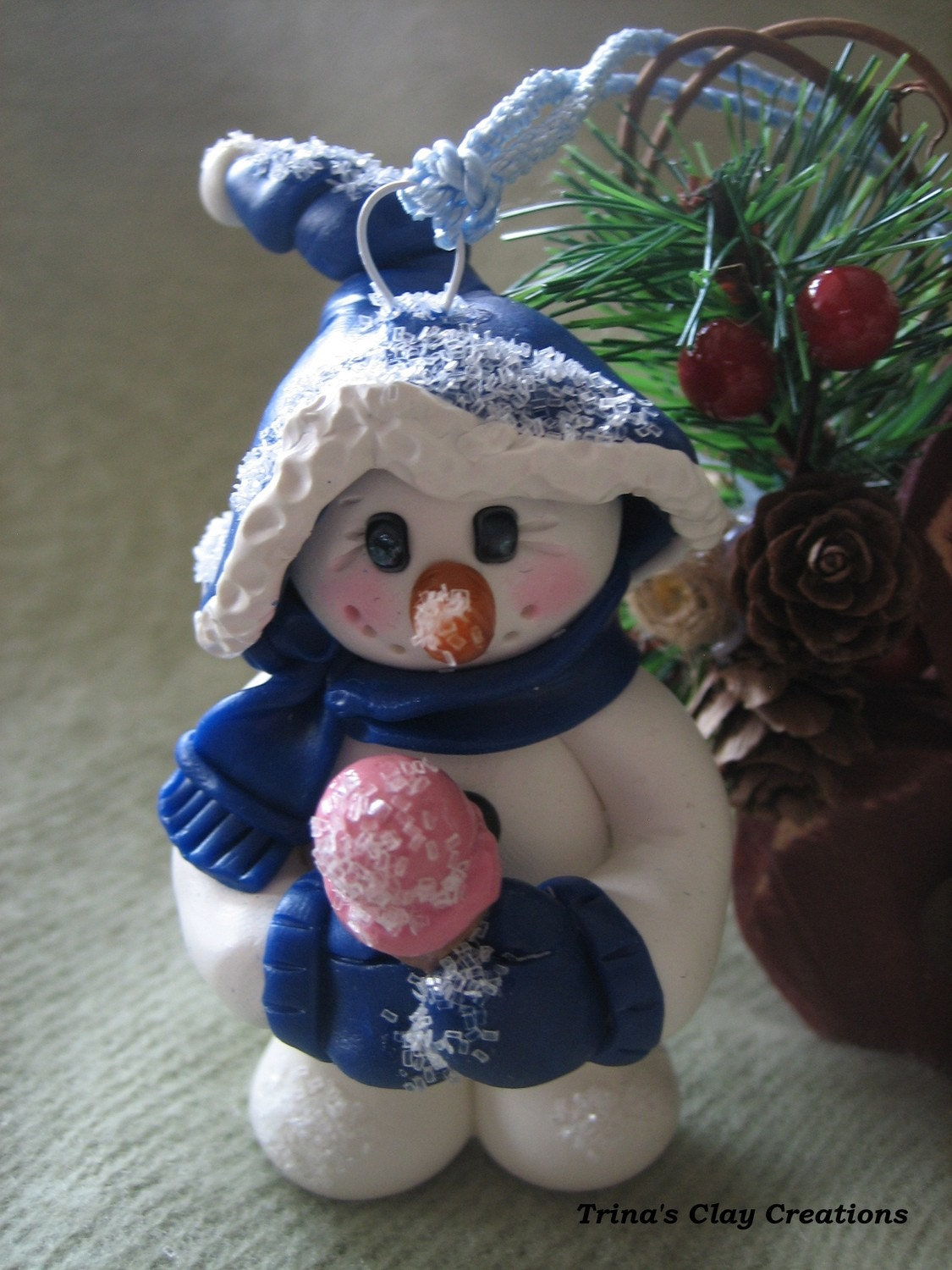 Christmas Ornament, Polymer Clay, Snowman Ornament