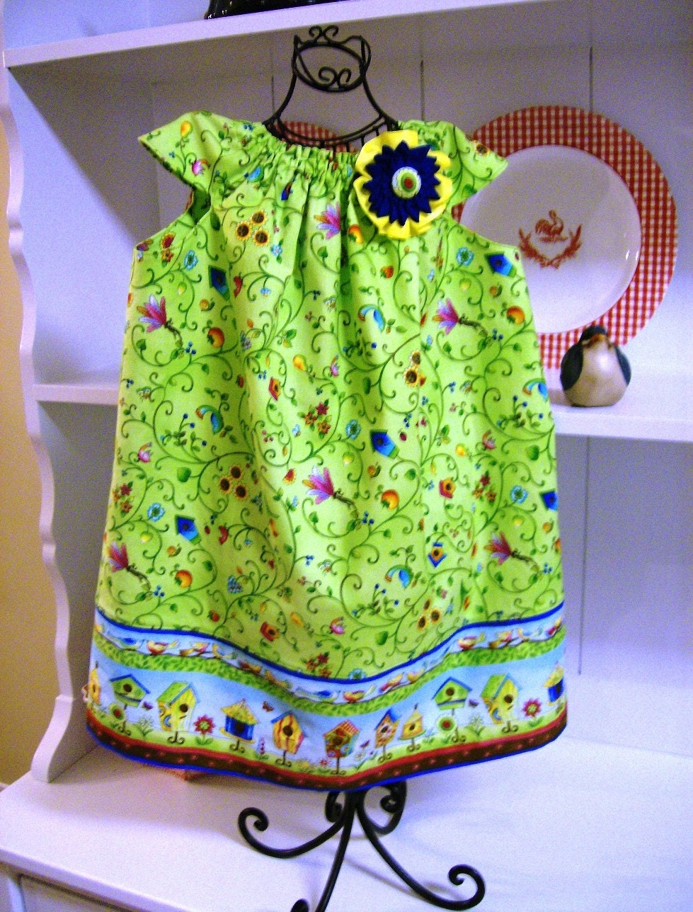 SEW RETRO Dress with Kanzashi Style Flower Pin READY TO SHIP 2T-3T