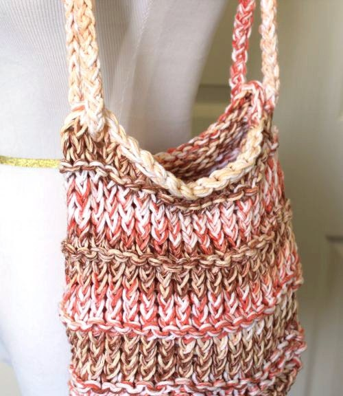 Loom Knitting Bag Patterns : Loom Knit Tote Bag Peach Brown Cream by sparkleknit on Etsy