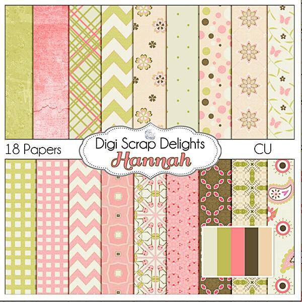 Hannah Digital Scrapbooking Paper Pack (Pink, Green, Brown Patterns)