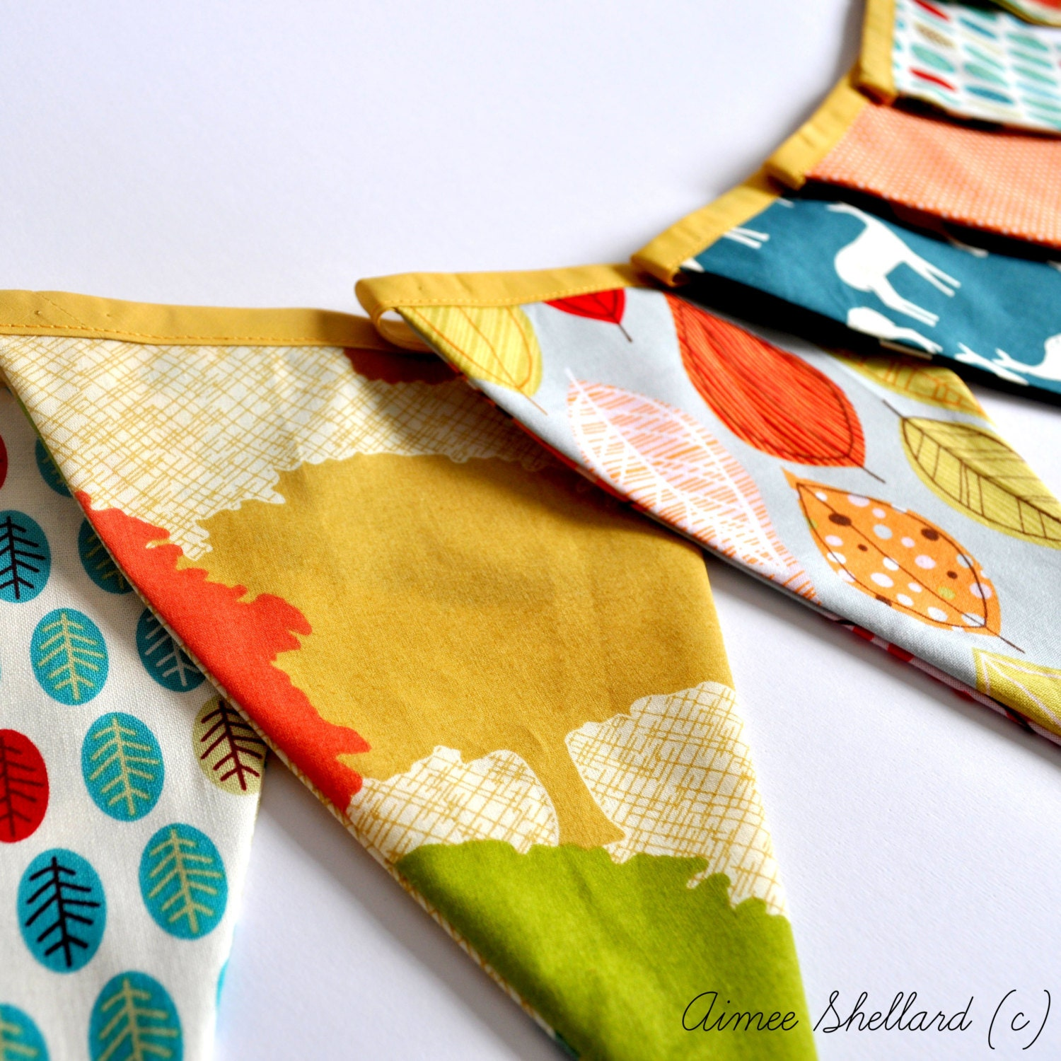 Into The Woods - Bunting 470cm - Orange, Mustard, Green - AimeesHandmadeHoard