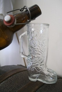Southern Bride, Groom Unique 8 inch Vintage Glass Cowboy - Cowgirl Mug