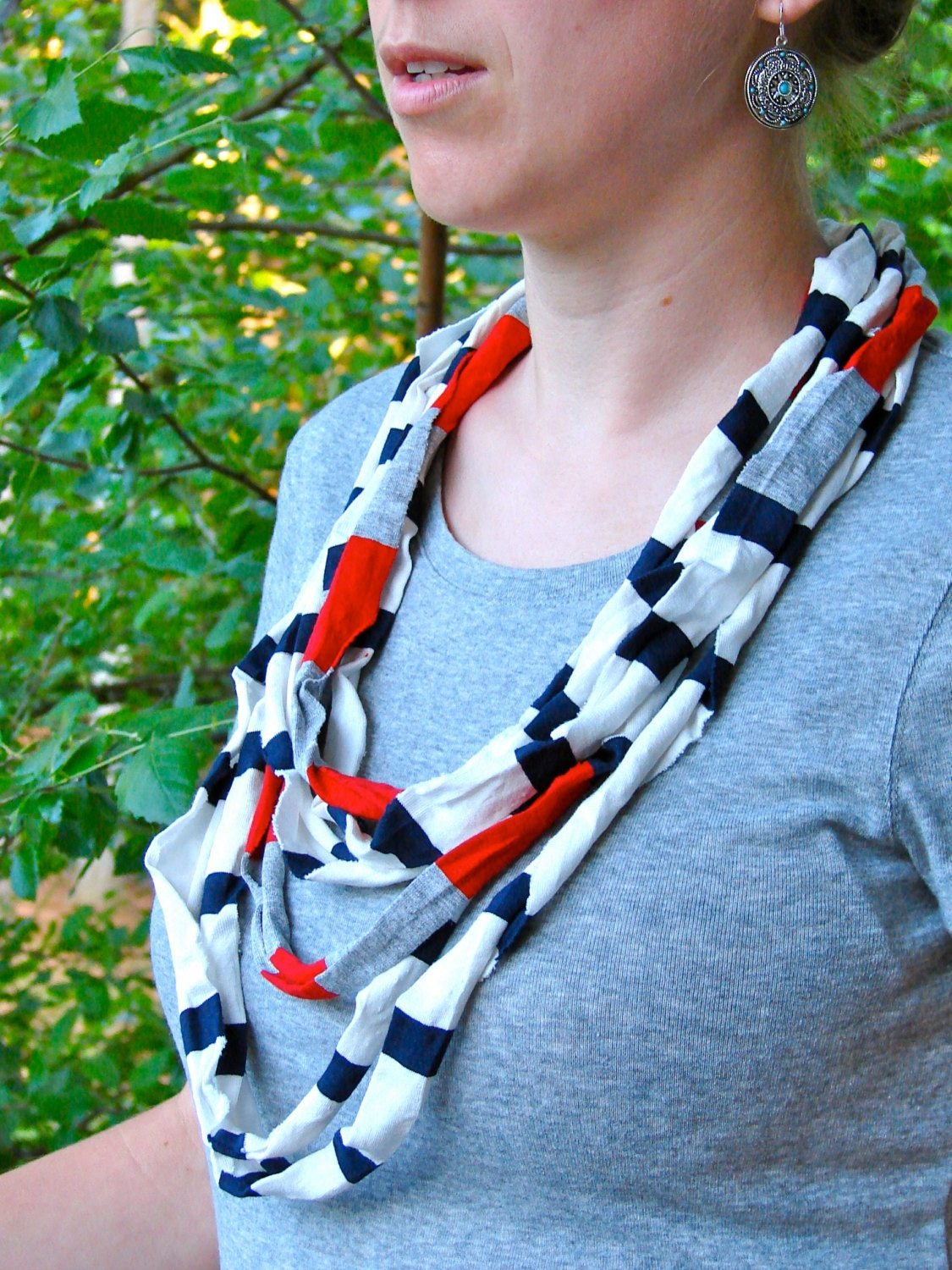 Nautical T-Shirt Infinity Scarf Cowl in White, Navy, Red, Grey