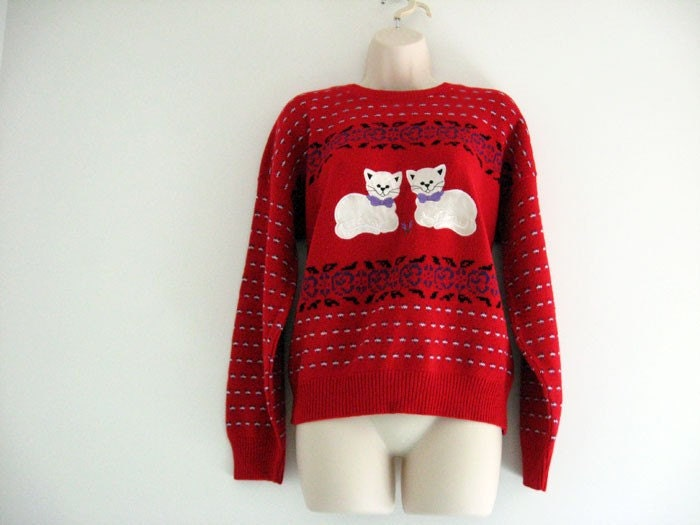 Vintage 1980s Red Slouchy Fit Sweater with Kitten Appliques size S/M