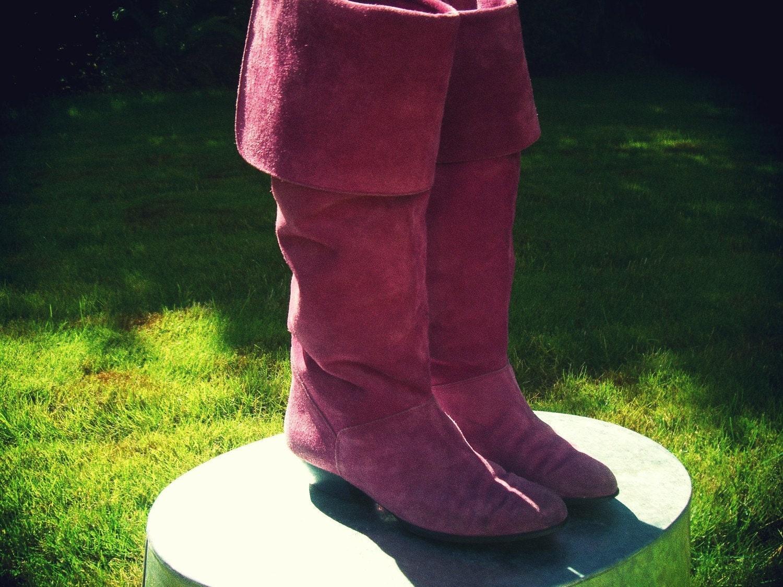 Vtg 1980s Pink Suede Liz Claiborne Boots Sz 7 M