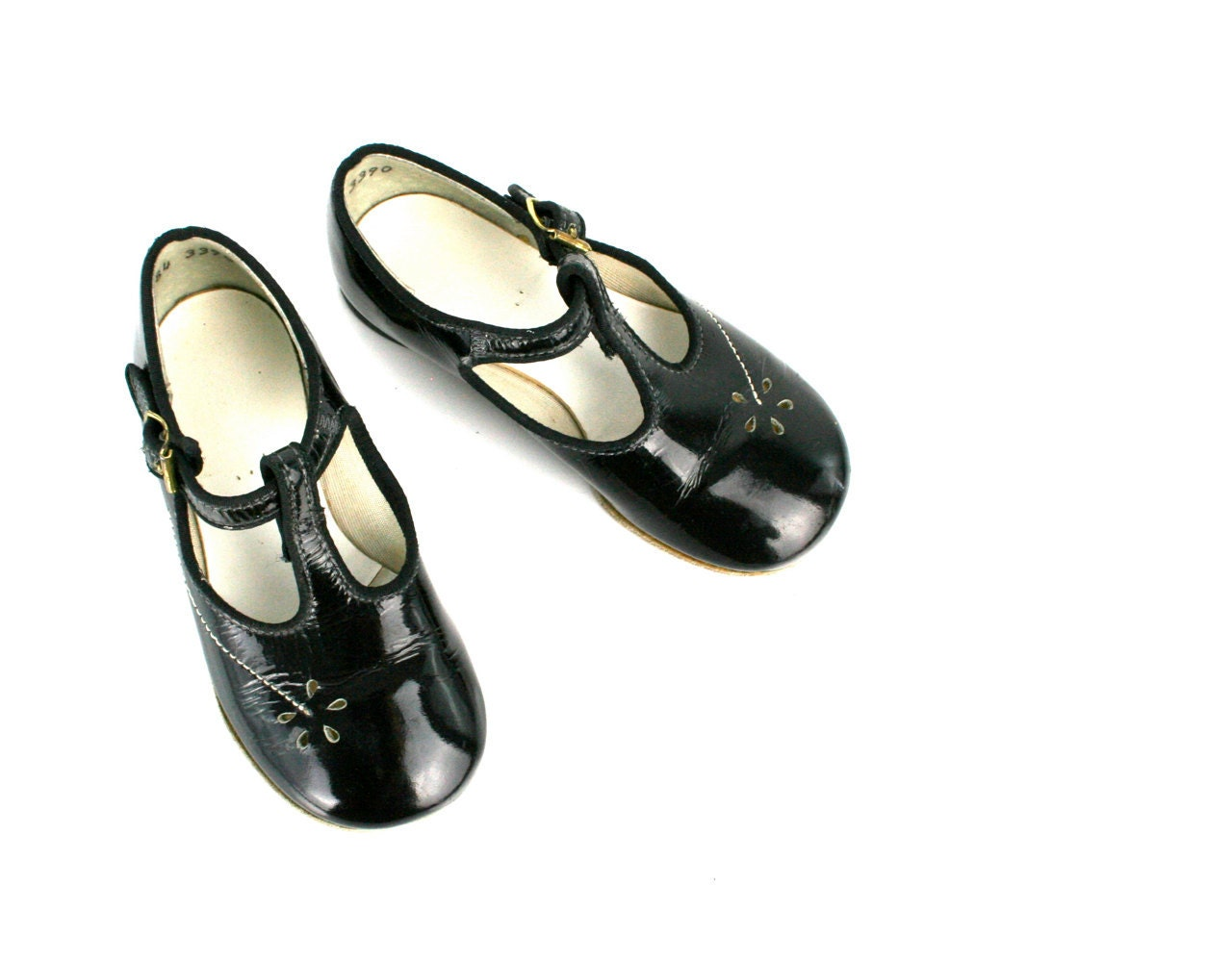 vintage baby shoes janes in black patent leather by