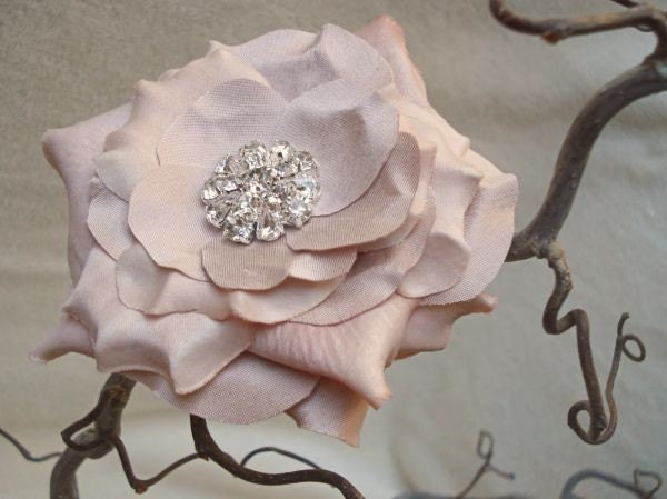 French Pink Rose Brooch