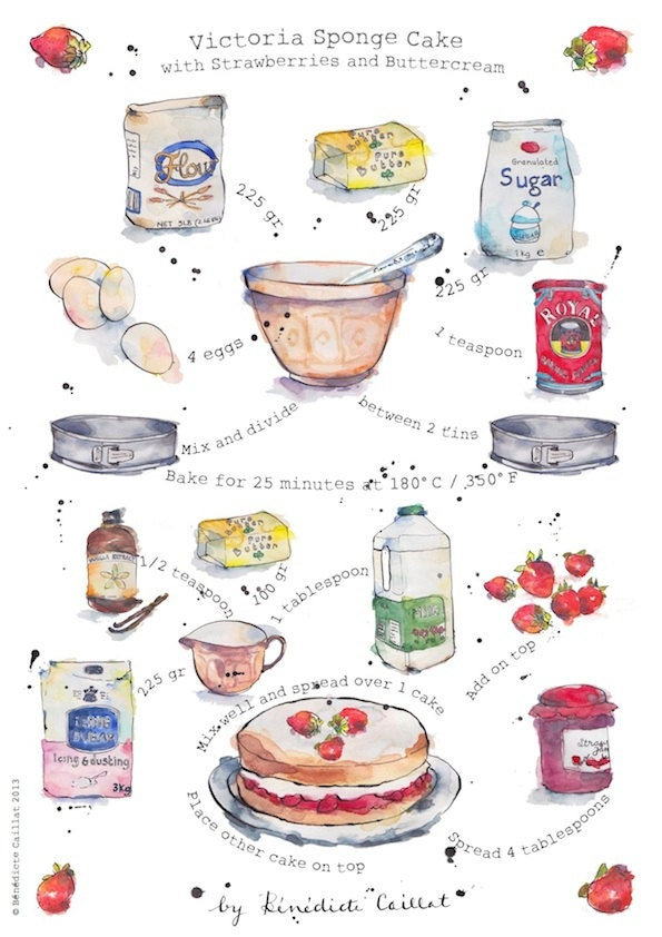 Cake Art Recipes : Victoria Sponge Cake Recipe Art Print from by PebbleandBee ...