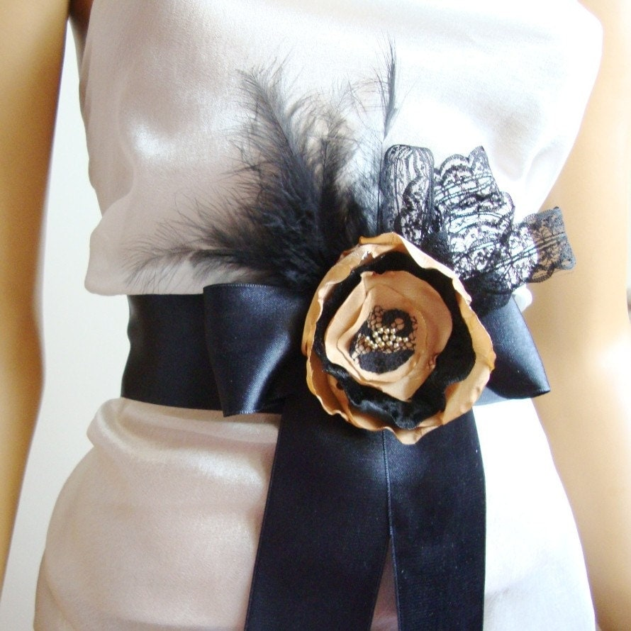 Flower Belt/ Bridal / Bridesmaid/ Party/ Ball/ Dancing/ Ceremony/ Feather/ Tulle/ Ribbon