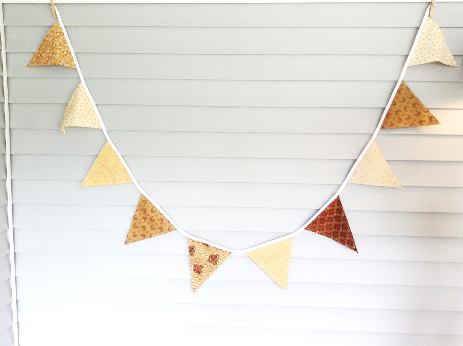 Rustic Autumn in Homespun Hues and Patterns:  Fabric Banner/Bunting - TheCountryCrab
