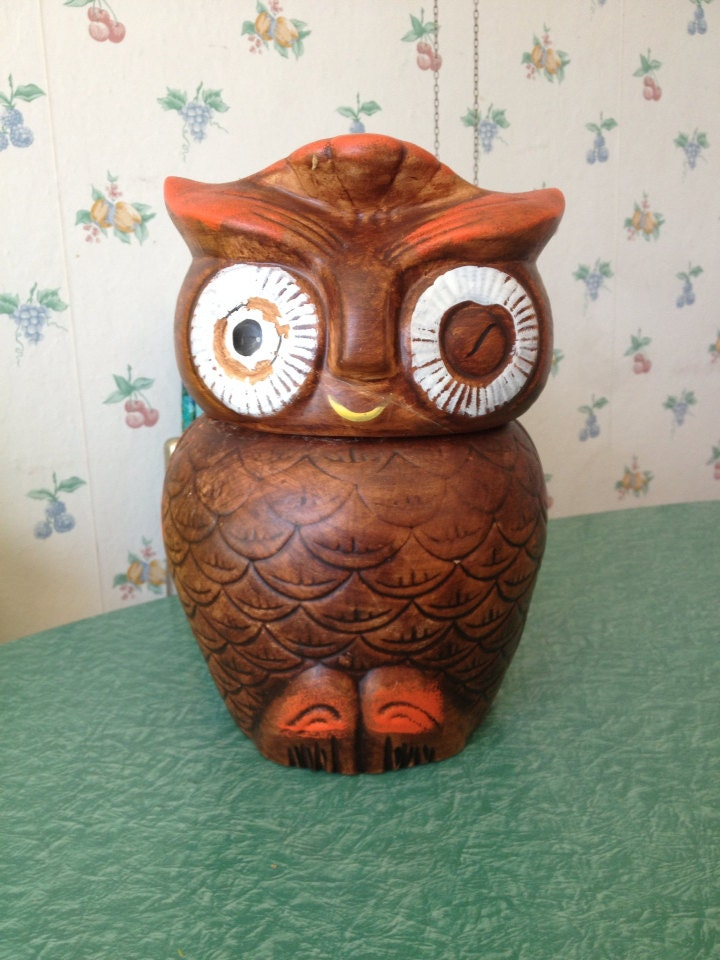 Vintage Owl Cookie Jar Ceramic Owl Container By Betsyfernvintage