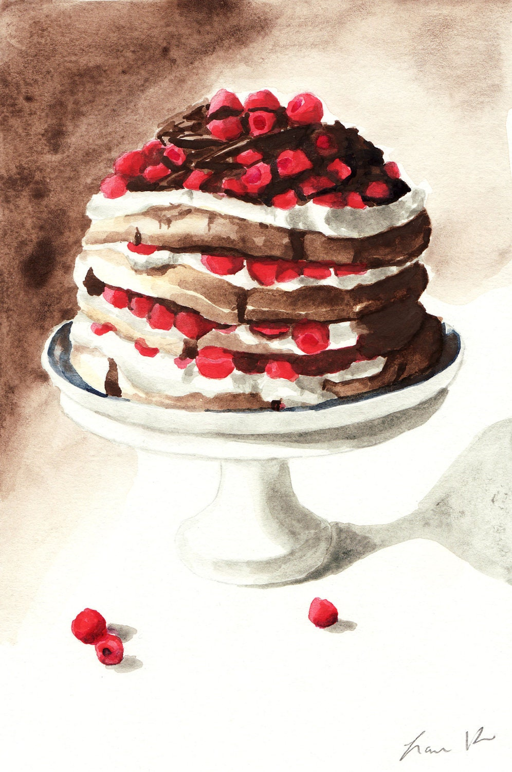 Items similar to Chocolate Raspberry Layer Cake on Pedestal Digital ...