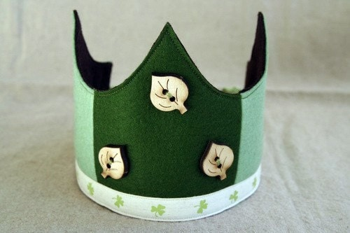 Wool Felt Crown -  Spring leaves abd Clover