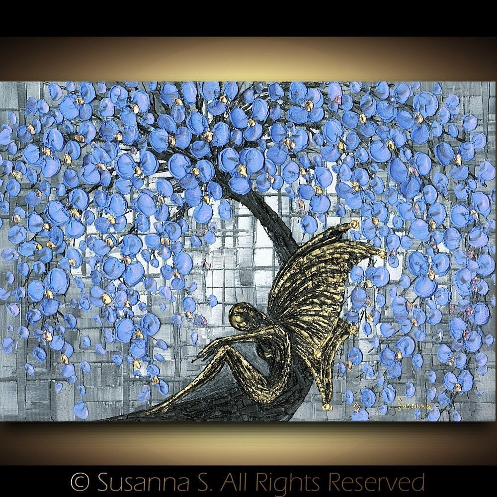 Gold Fairy Blue Cherry Blossoms Tree Fantasy Contemporary Fine Art PRINT- by Susanna 13x19