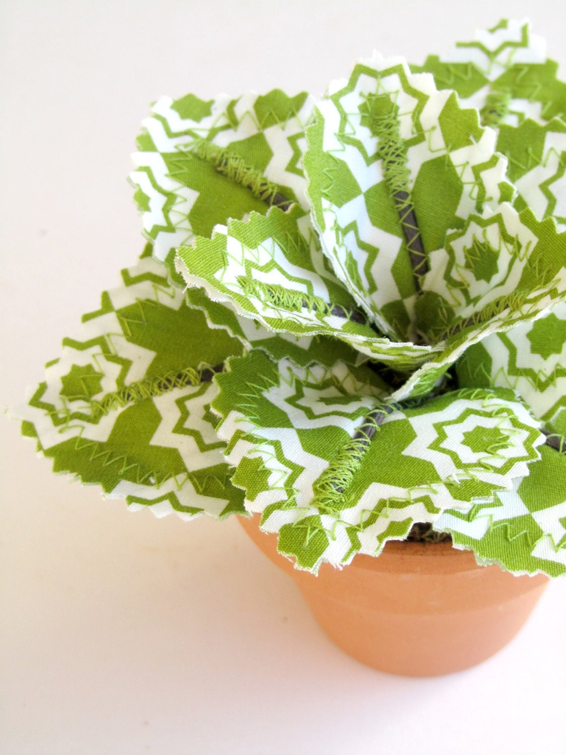 Fabric Leaf Potted Plant - Avocado Green Tiles Valentines Day Gift Idea