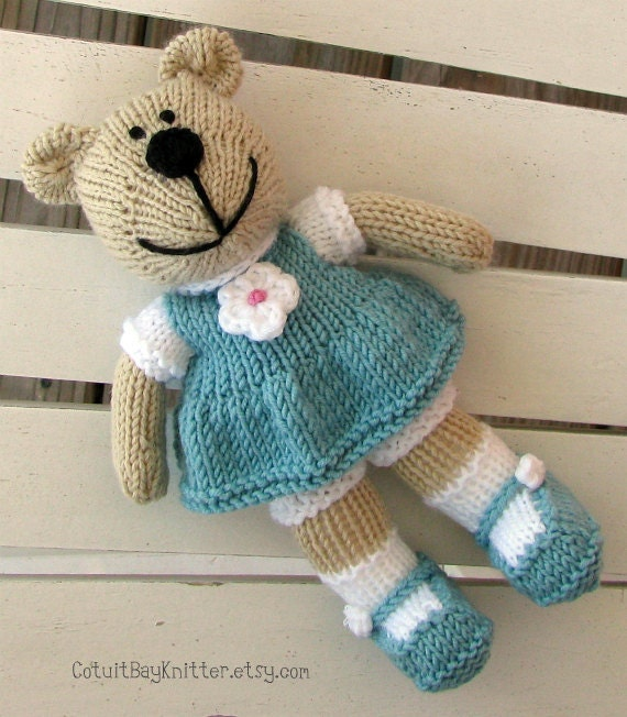 Free Knitting Patterns For Stuffed Animals : Hand Knit Teddy Bear Stuffed Animal Knitted by cotuitbayknitter