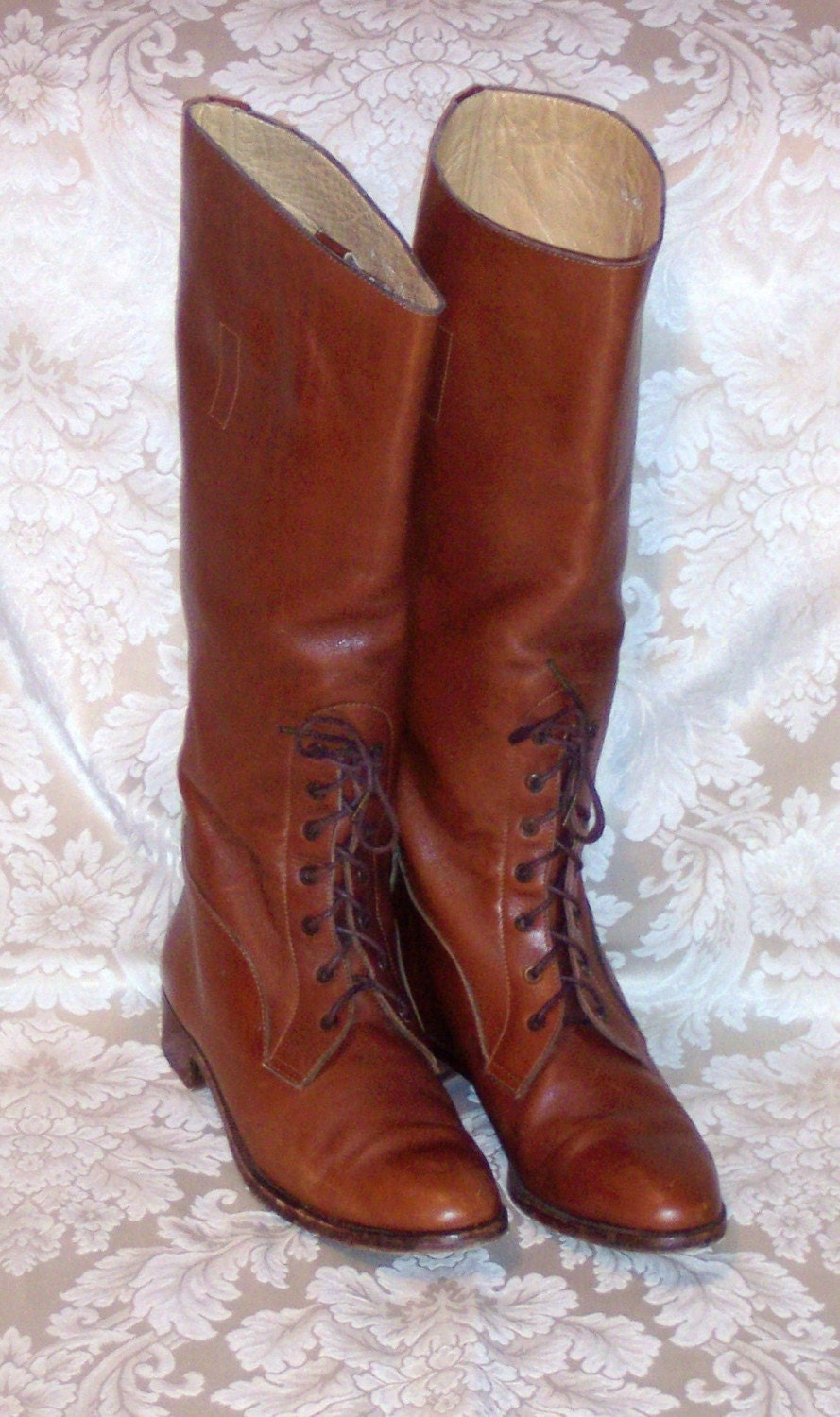 January Sale VINTAGE RALPH LAUREN EQUESTRIAN RIDING BOOTS IN SADDLE BROWN LEATHER AND LACE UP FRONT