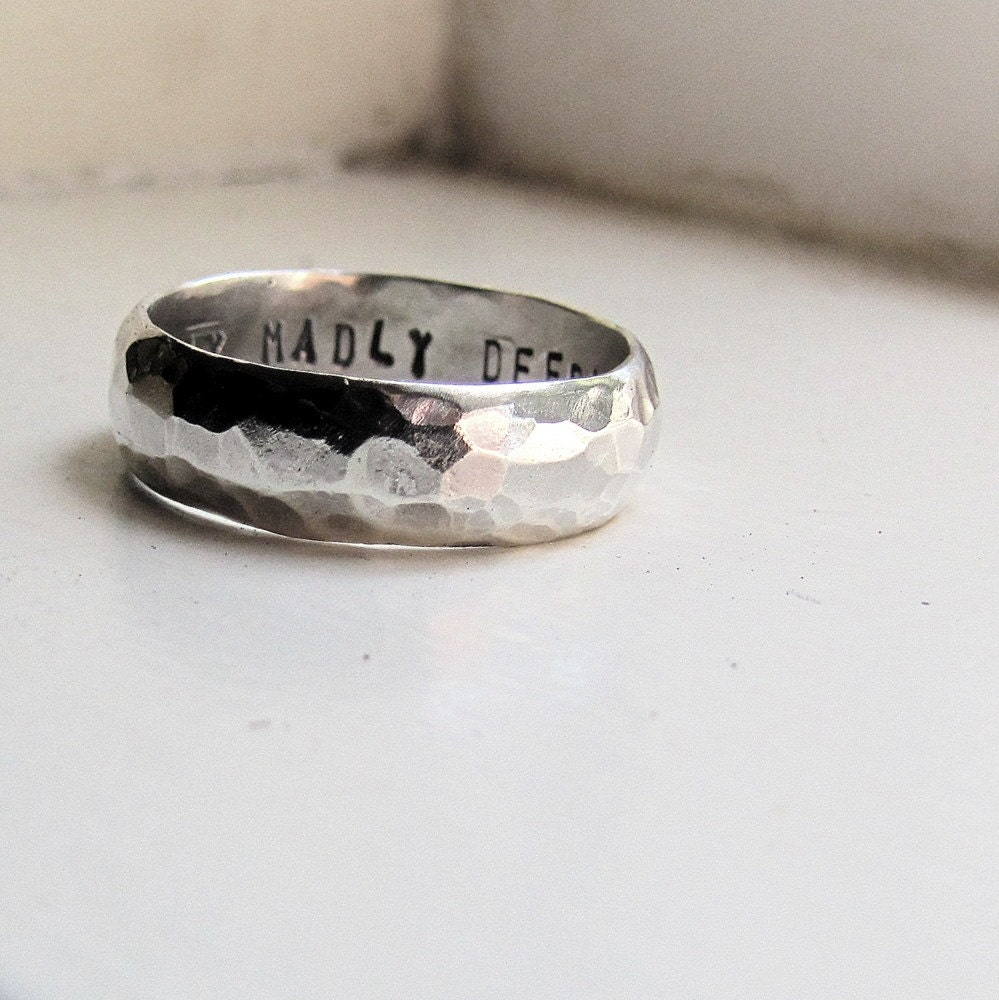 Rustic Hammered Sterling Wedding Band for Men or Women