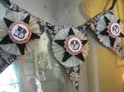 BOO..Halloween Bunting Banner Pennant Sign Garland Party Favor Shabby Chic French Paris Black Glitter Star Damask Tag Paper Roseete