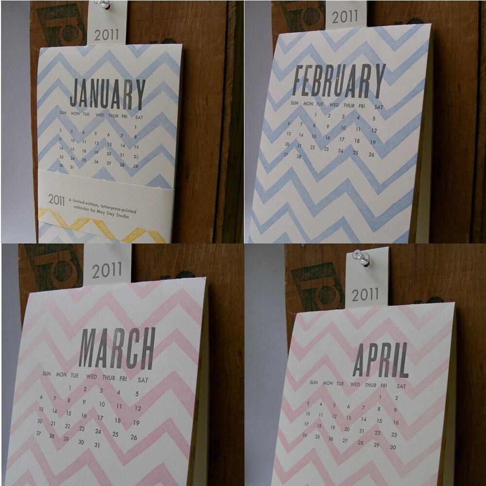 ZigZag 2011 Letterpress Wall Calendar
