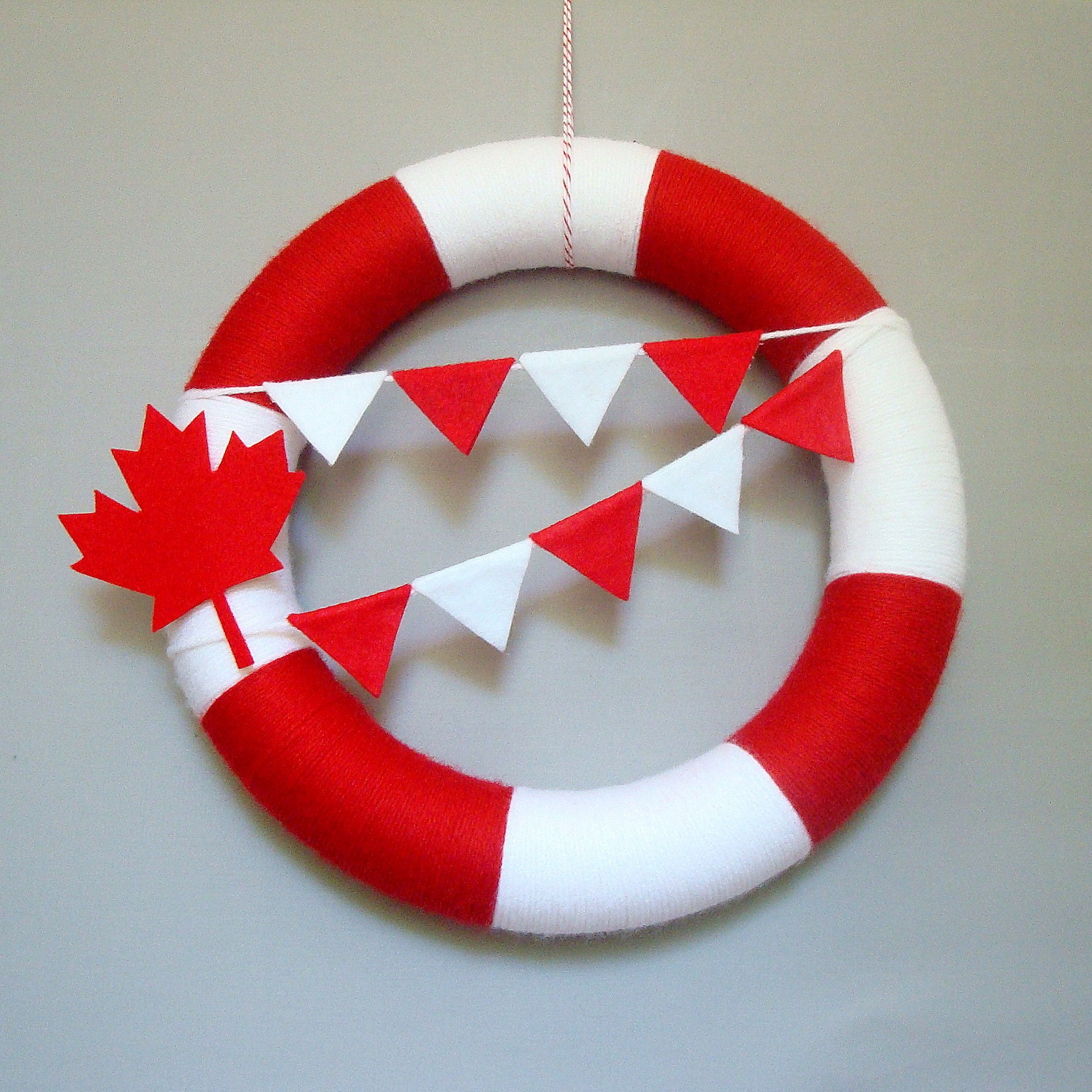 Canada Day Yarn Wreath Red, white, maple leaf, Bunting Flags
