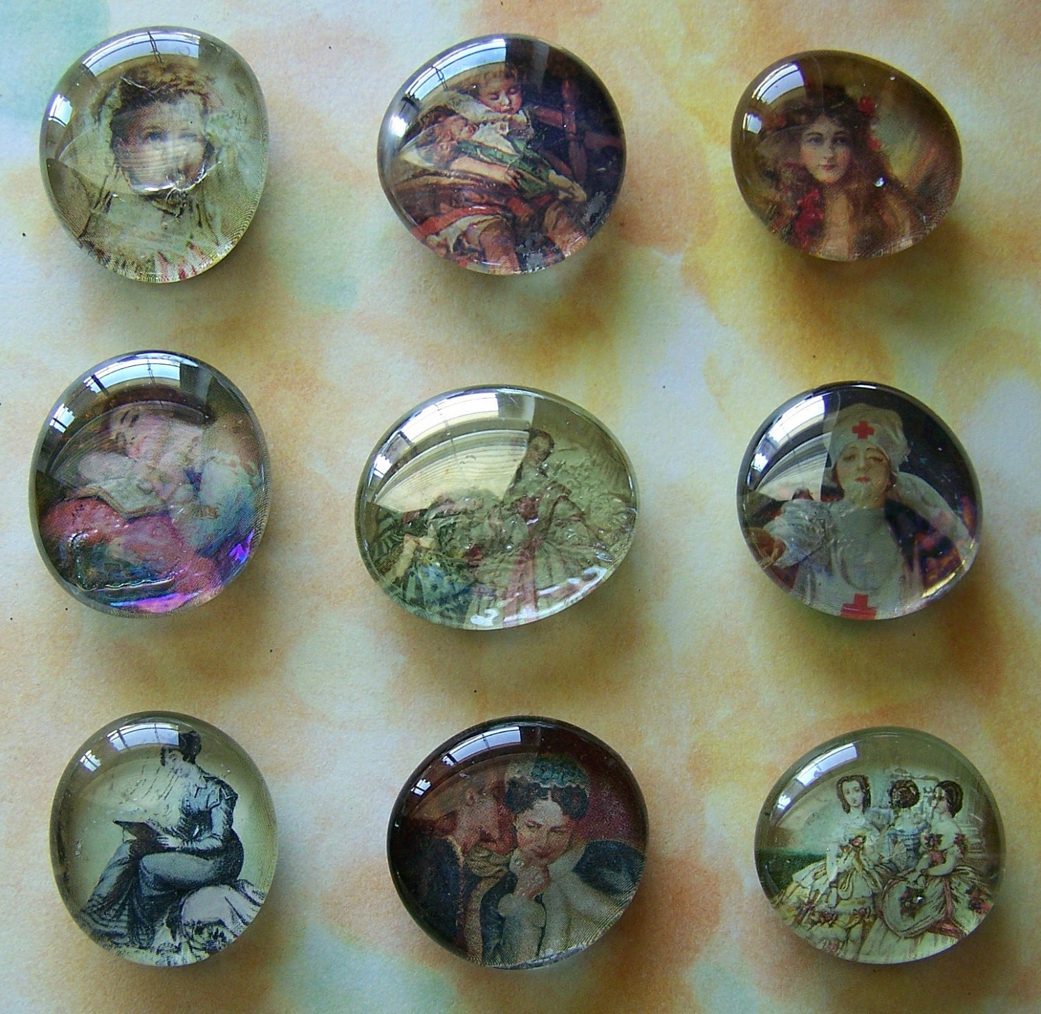 Set of 9 Assorted Upcycled Victorian Glass Marble Magnets