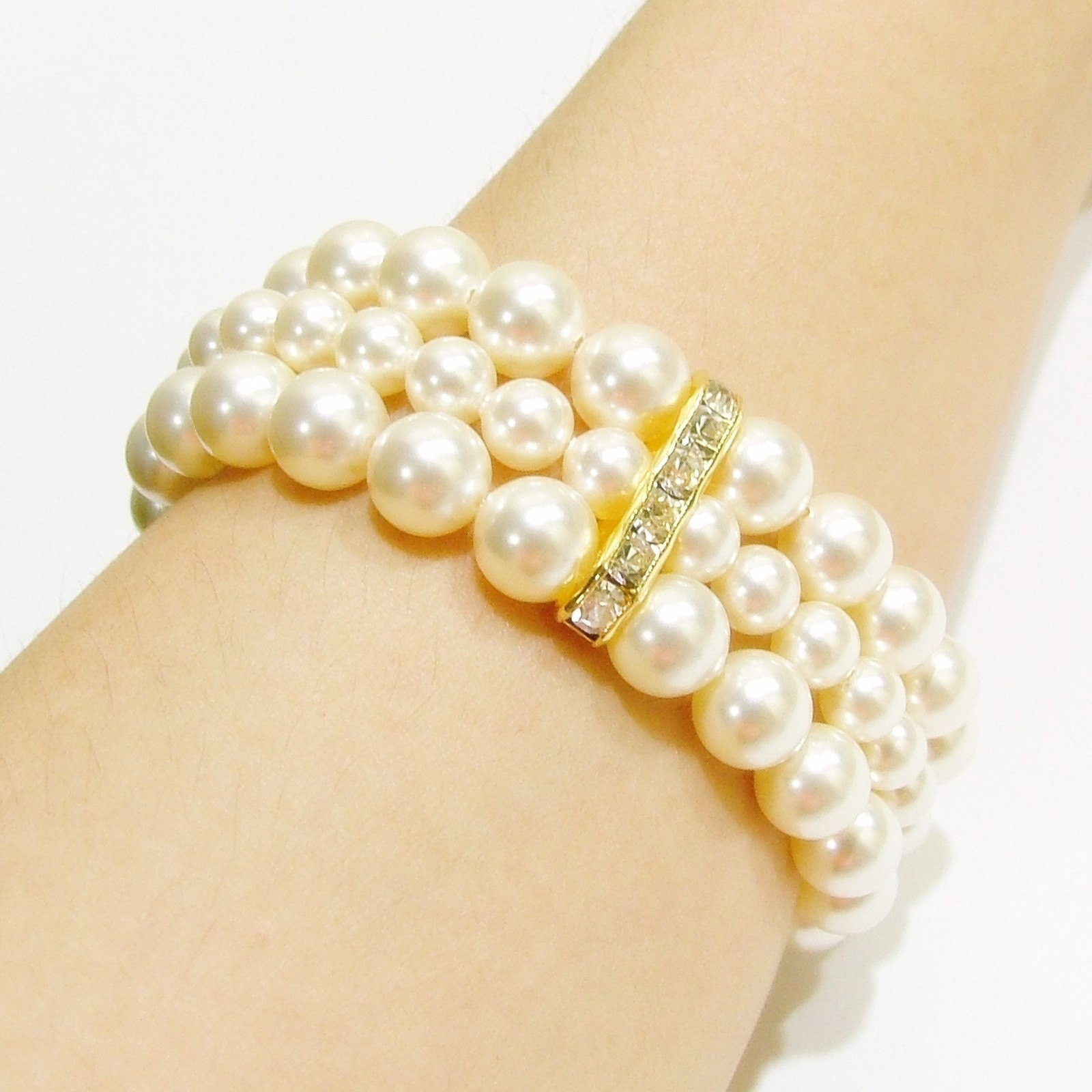 Elegant Pearl Bracelet - 3 Strands and Spacers