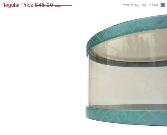 SALE Vintage Aqua Hat Box, Large Seafoam Vinyl Hat Box, Mid Century Storage, Mod Container, Turquoise, Teal Blue Hat Box - YesterdaysSilhouette
