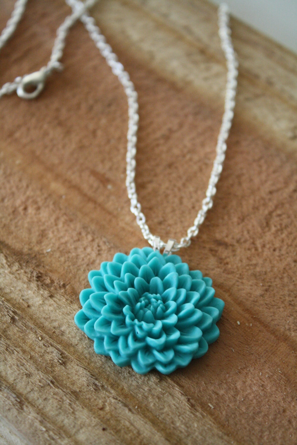 AQUA - Chrysanthemum Cabochon Pendant Necklace on a Silver Chain