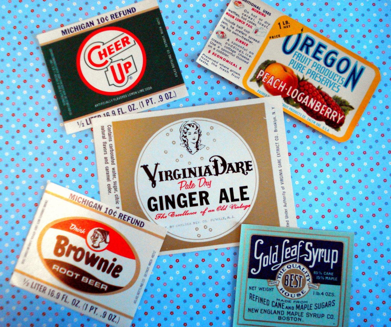 5 Vintage Soda and Fruit Labels