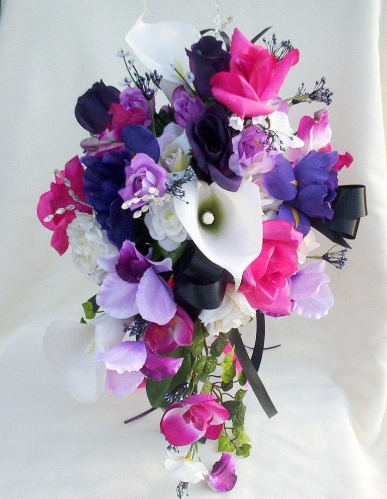 Wedding Flowers Cascade Bouquet Purple Fuschia Black silk flowers