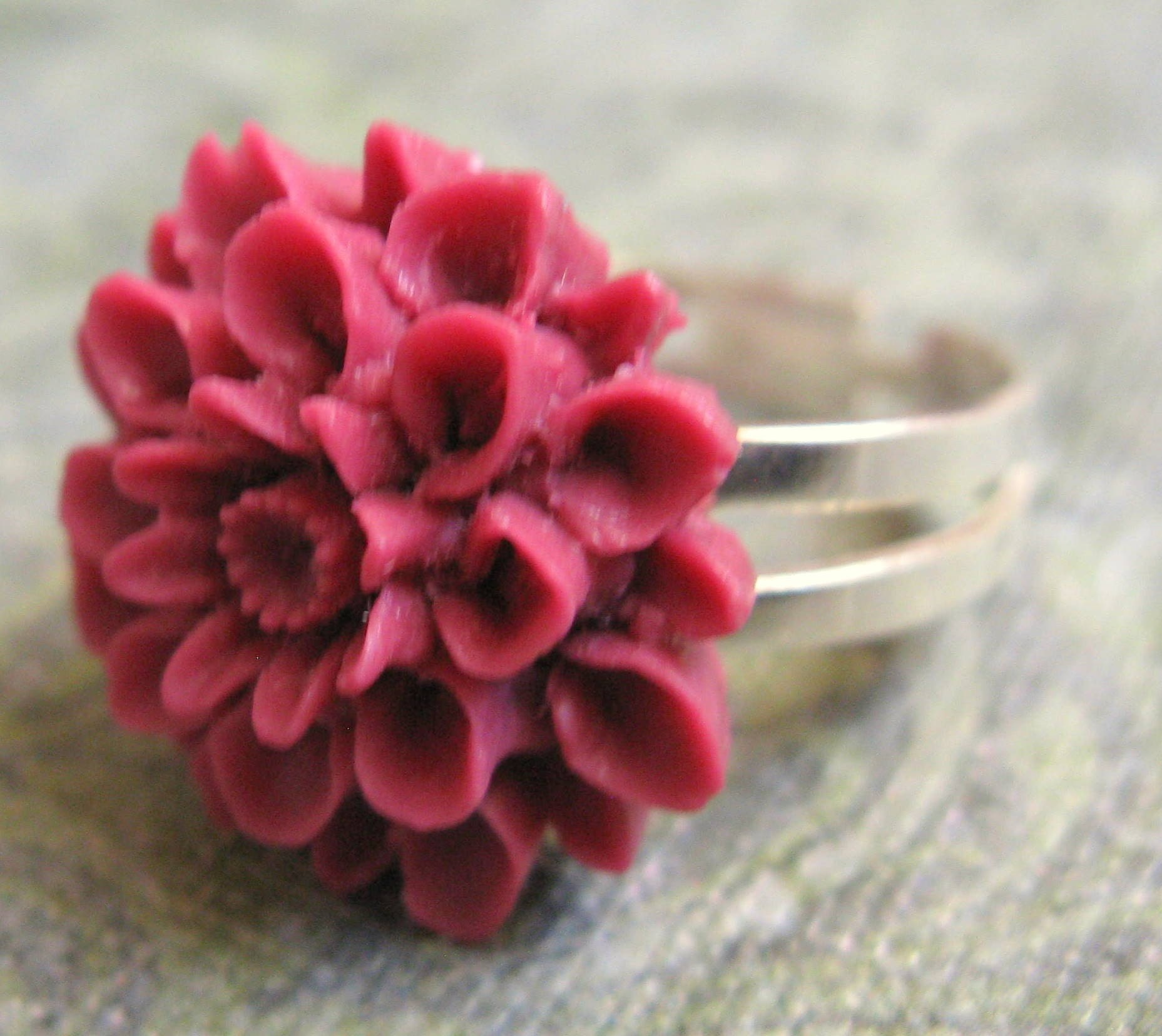 Pink  Wildflower Ring - Silver