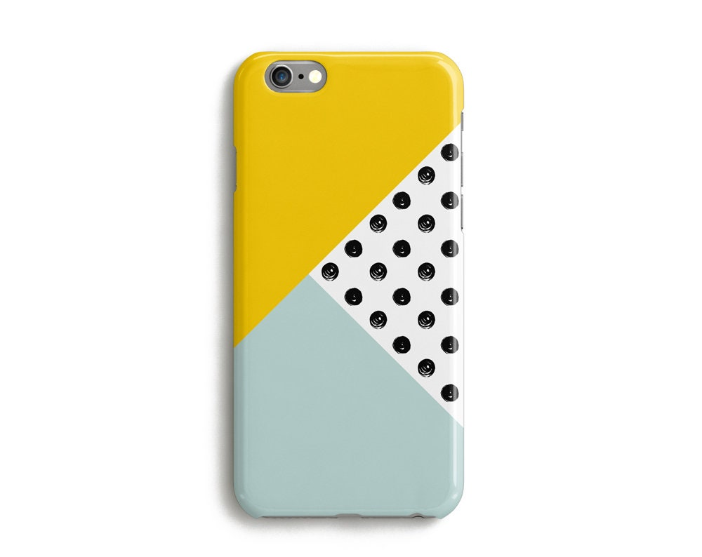Geometric Polka Dot Spots Yellow and Blue Google Pixel 2 Case, Google Pixel XL Case, Pixel XL 2, Samsung Galaxy S9 Case, Galaxy S8 Case
