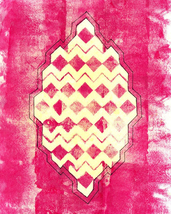 Pink Geometric Waves - Limited Edition Print - Katlix
