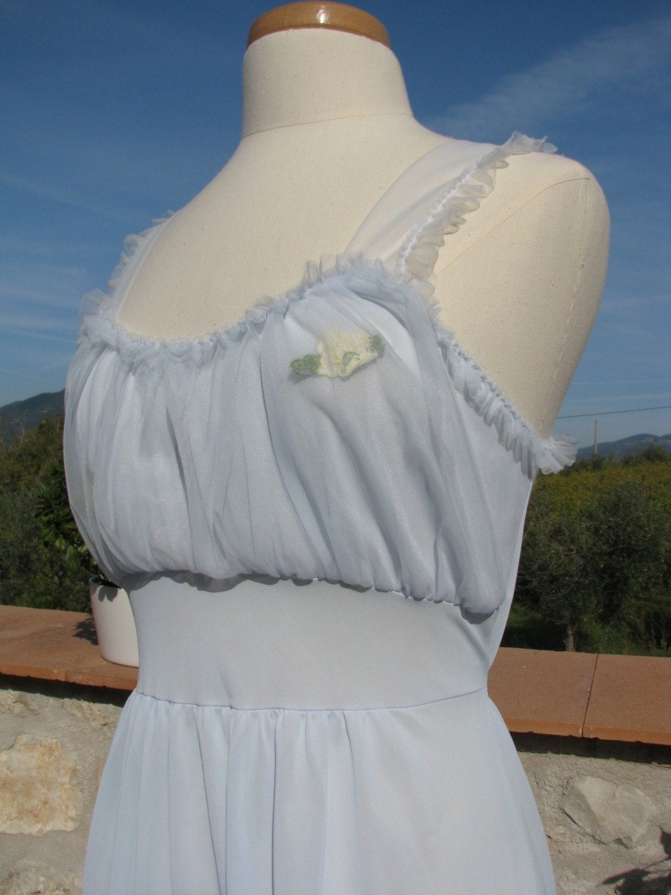 Blue Puff Slip Dress Pleated Chiffon Hem and Bust Pretty Vintage