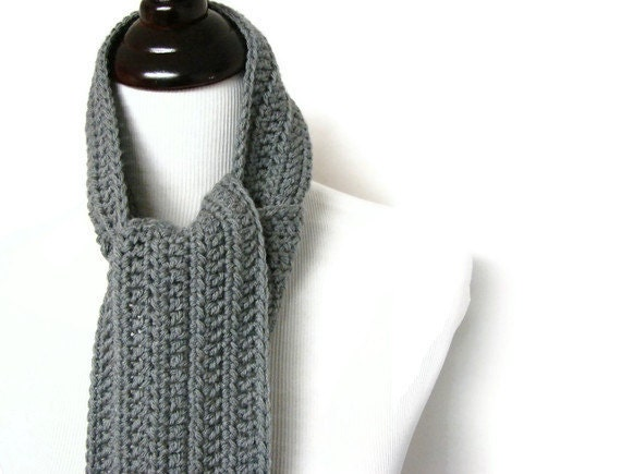 Crochet Mens Scarf : Mens Scarf Gray Crochet Man Long Masculine Unisex Neck Warmer 4 Inches ...