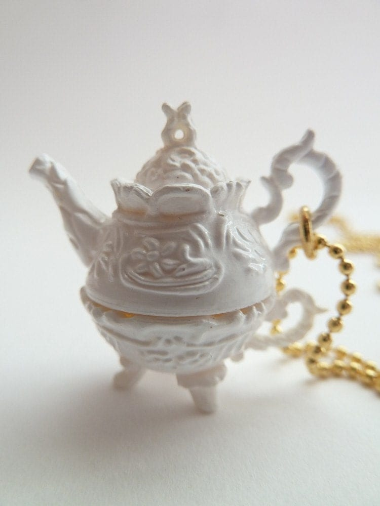 Antique Teapot necklace Pendant alice in wonderland miniature Charm gold ball chain necklace white tea pot tea party cup of coffee unique gifts birthday girls party