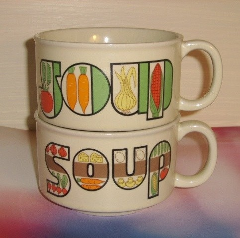 Vintage - 1970s Ceramic SOUP Mugs - Set of Two (2)