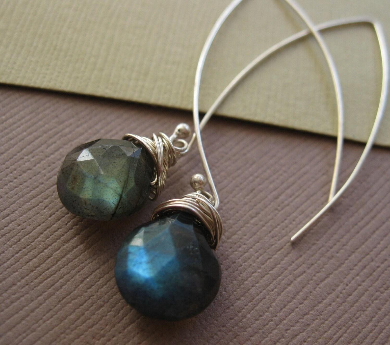 Hilight Earrings, Flashy Labradorite Briolettes on artisan Sterling Silver Hooks