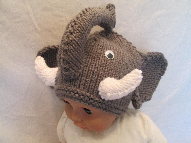 Knitting Pattern For Elephant Hat : Knit Crochet Elephant hat...newborn adorable Baby by Ritaknitsall