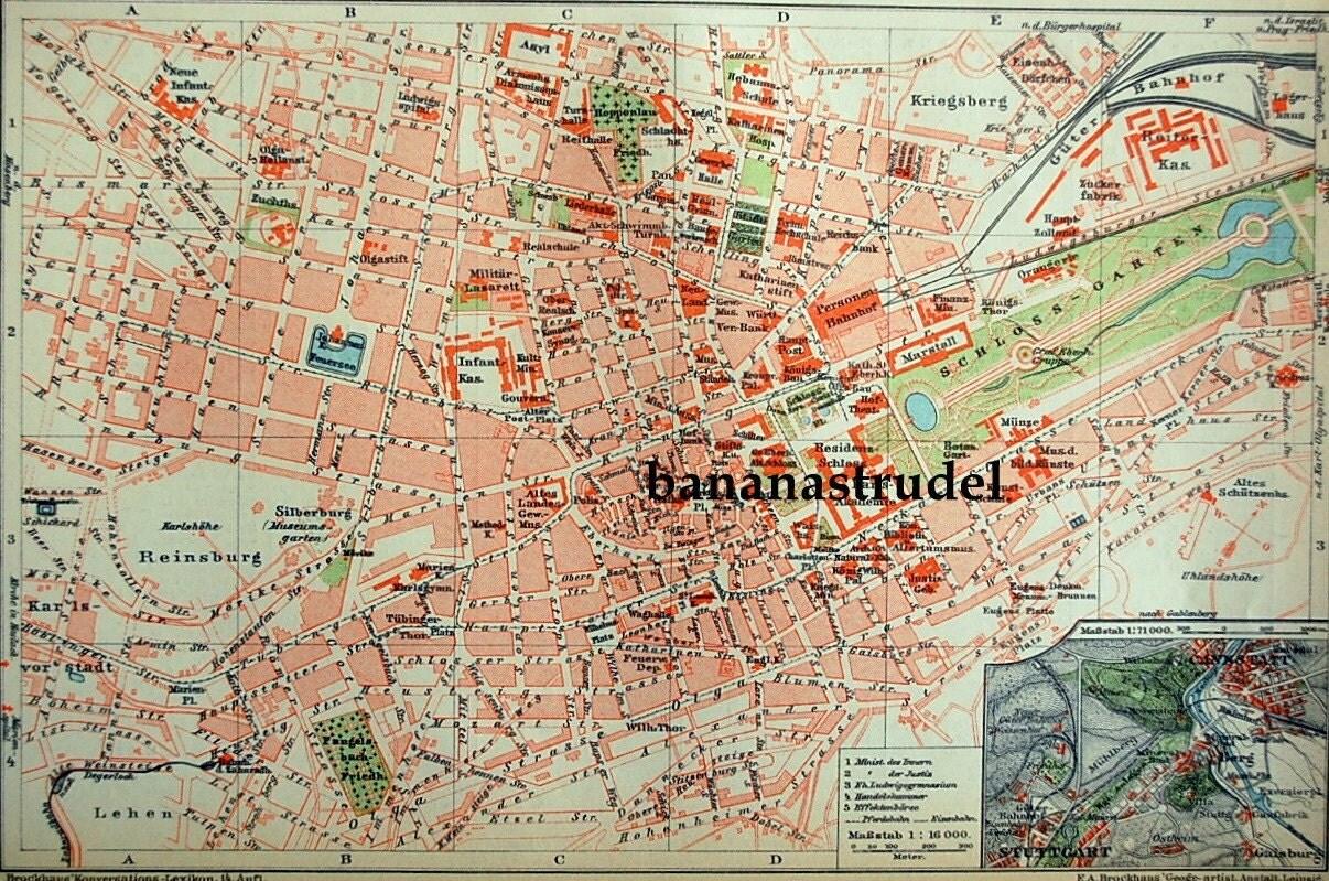 1897 Antique City Map of Stuttgart