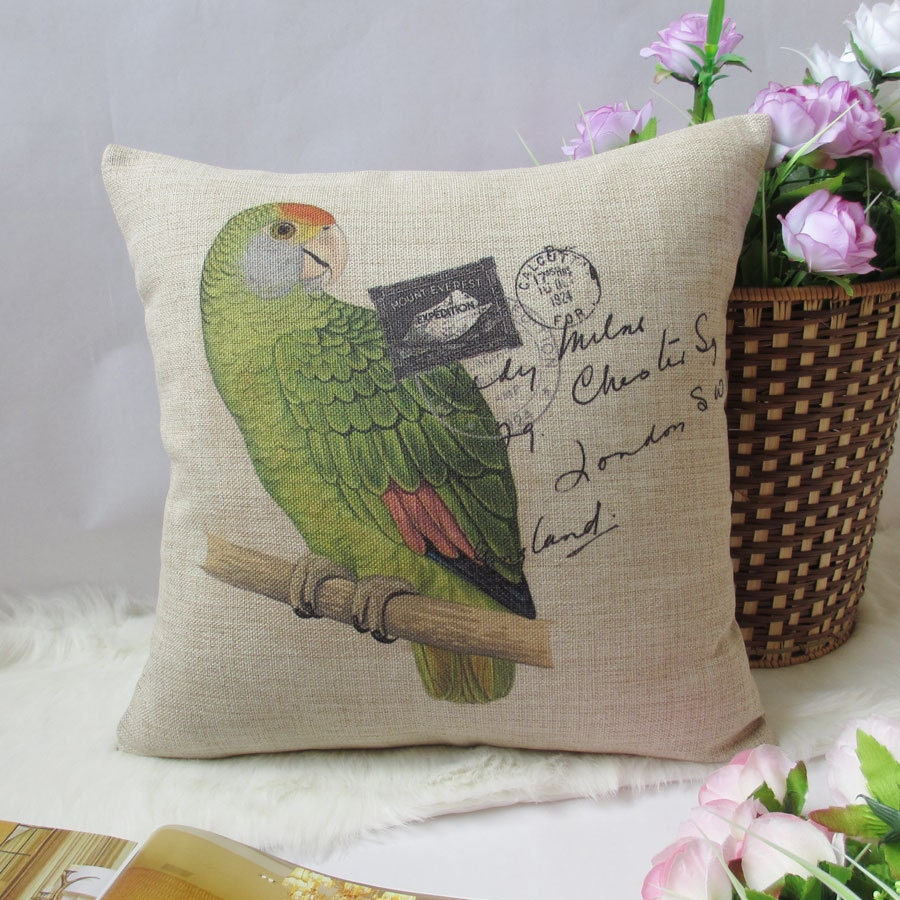 "1 cotton linen simple green parrot stand in tree post words flowers printed decorative pillow cover / cushion case 18"" - xinghuajiang"