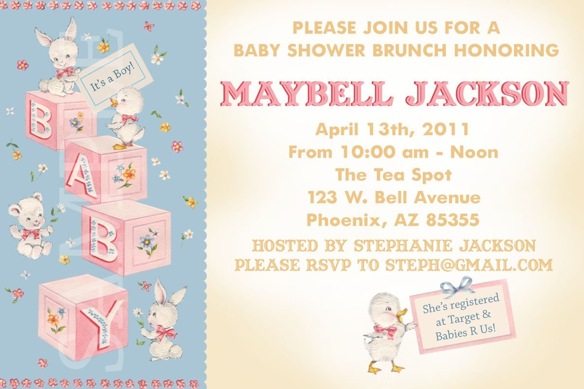 Vintage Inspired Baby Blocks Baby Shower Invitation Boy or Girl or Gender Neutral Custom Designed Personalized printable
