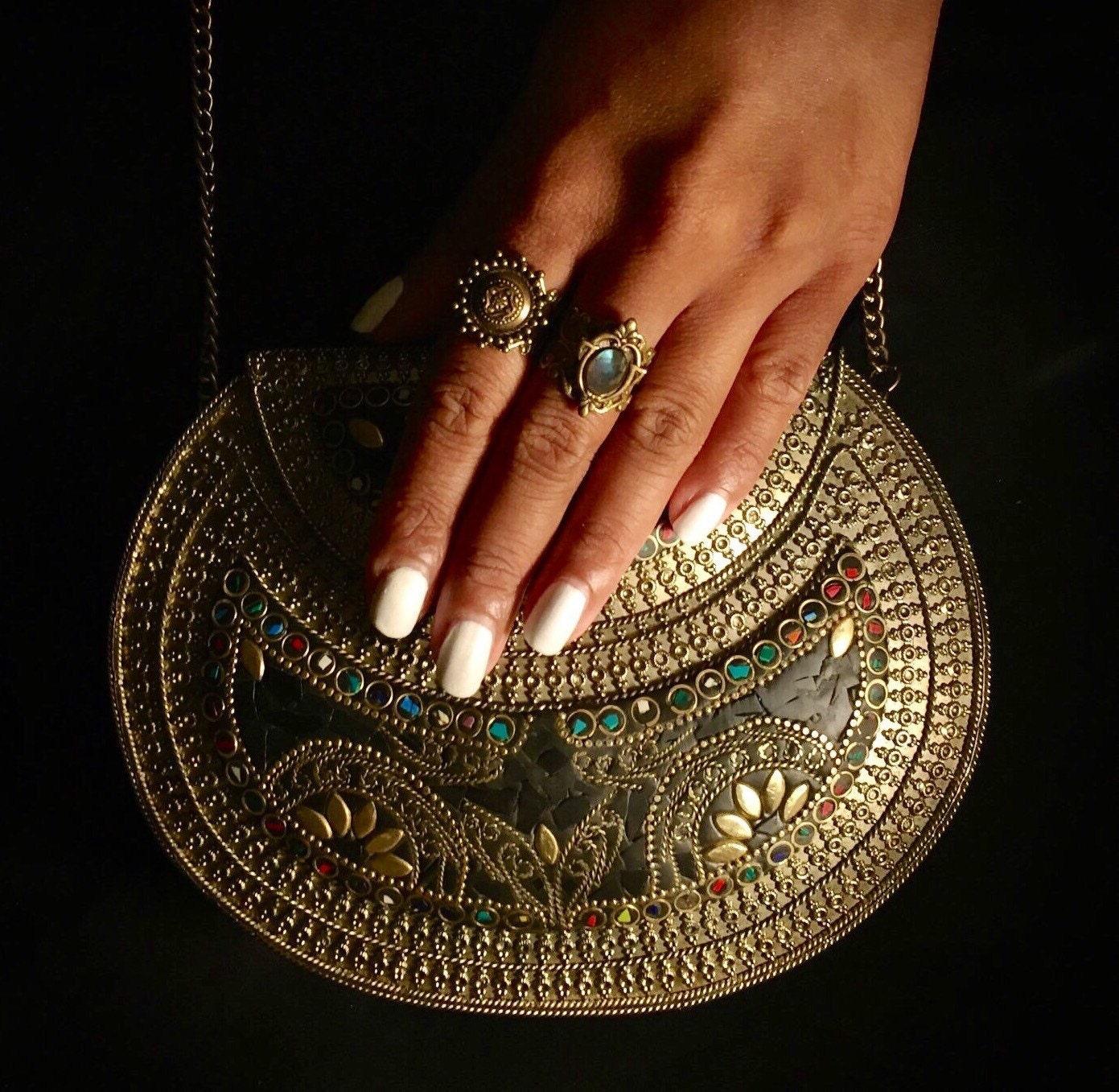 Cora  ethnic metal bag tribal metal clutch indian tribal bag vintage handmade bag antique metal bag  festival bag  statement clutch